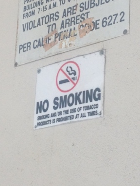 No smoking signs are posted in a lot of public areas. With e-cigarettes becoming popular the signs might need to be redesigned if the use of them are becoming allowed anywhere. PC: Briana Hill