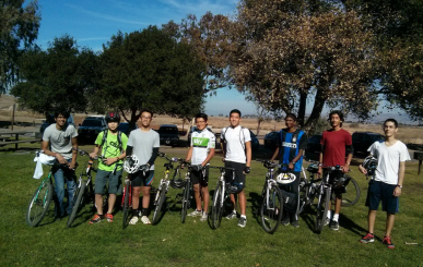 "Members of the Cycling Club pose for a picture after their first group ride at Coyote Hills on November 9, 2013. ""The whole purpose of the club is to congregate bike lovers ranging from the most experienced to the beginners who are interested in the activity within the entire school,"" Leung said."