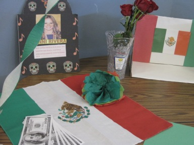 This display made by Laurita Gutierrez (10) and Adelene Rodriguez (10) honors one of the sophomores' favorite singers, Jenni Rivera, who died in 2012.  Students made displays for celebrities, artists, and famous personalities and were responsible for learning about them.  Many of the displays made by Spanish 3 and Spanish 4 students were placed around the rotunda from October 31, 2013 through Thursday, November 7, 2013.  PC: Caroline Lee
