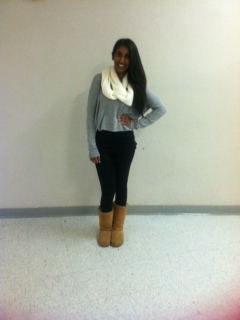 """Senior Namrita Nigam wearing a Cashmere sweater and leggings with ugg boots in AHS. """" My favorite cozy outfit,"""" Nigam said. To students, cozy outfits like these motivate them to come to school"""