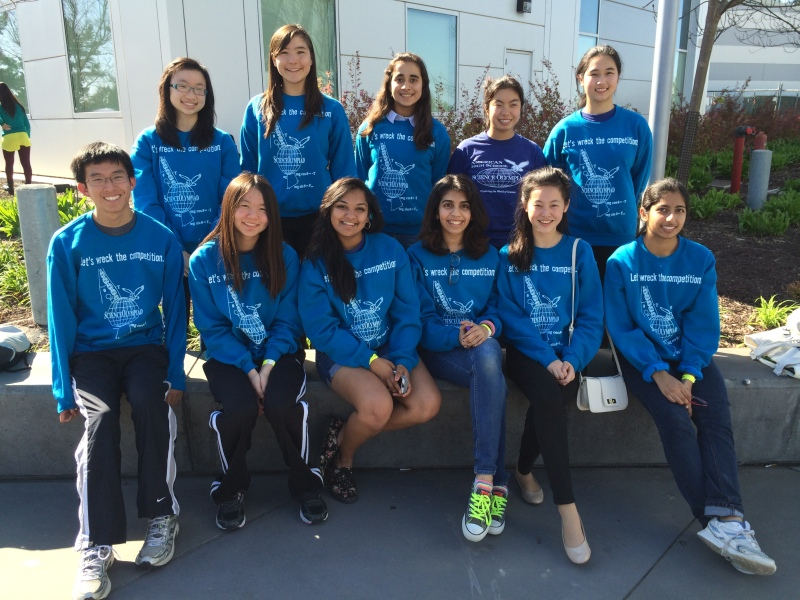 """Front row (left to right): Daniel Ma, Emily Wang, Pooja Sakthivel, Meghna Satish, Diana Huang, Shweta Kinger Back row (left to right): Levina Lin, Geralyn Moore, Garima Raheja, Melissa Chen, Diane Zhou Not pictured: Aswini Krishnan, Saisha Agrawal, Trisha Agrawal, Vidya Pingali The Science Olympiad Team at American were happy placing eighth place at the Bay Area Regional Science Olympiad competition. """"It's actually quite an achievement for a relatively new team,"""" freshman participant Saisha Agrawal said."""