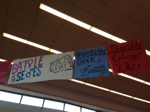 Banners in the rotunda advertise Battle of the Sexes and the different corresponding dress up days. While Battle of the Sexes is meant to be a week promoting fun and school spirit, it unintentionally offends those who don't fully understand and fit in with the activities