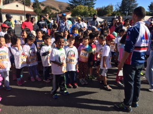 Children in the 4-6 year old category line up for their turn during the Run 4 Education at Niles Elementary school.