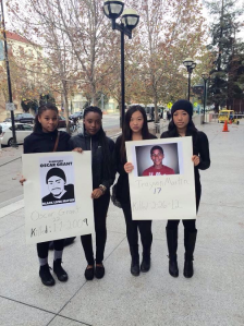 (Left to right) Tylore Bell, Kemi Giwa, Andrea Kwong, and Lauren Clark, students of American High who wanted to make a difference, participate in a peaceful protest at San Jose State University. The protest took place on December 7, 2014, where people from all over California gathered with a common goal to end racial injustice.