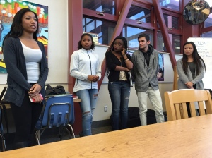 (Left to right) Lauren Clark, Tylore Bell, Kemi Giwa, Elias Kamal, and Andrea Kwong talk about the social inequality that is prevalent in society. On December 8, 2014, many discontent students of American High came to express their opinion about this ongoing issue.