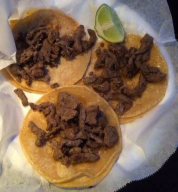 The picture shows the carne asada tacos (plain). $6 for all three. ($2 each)